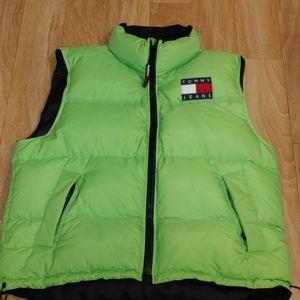 Rare Tommy Hilfiger jeans slim green puffer vest